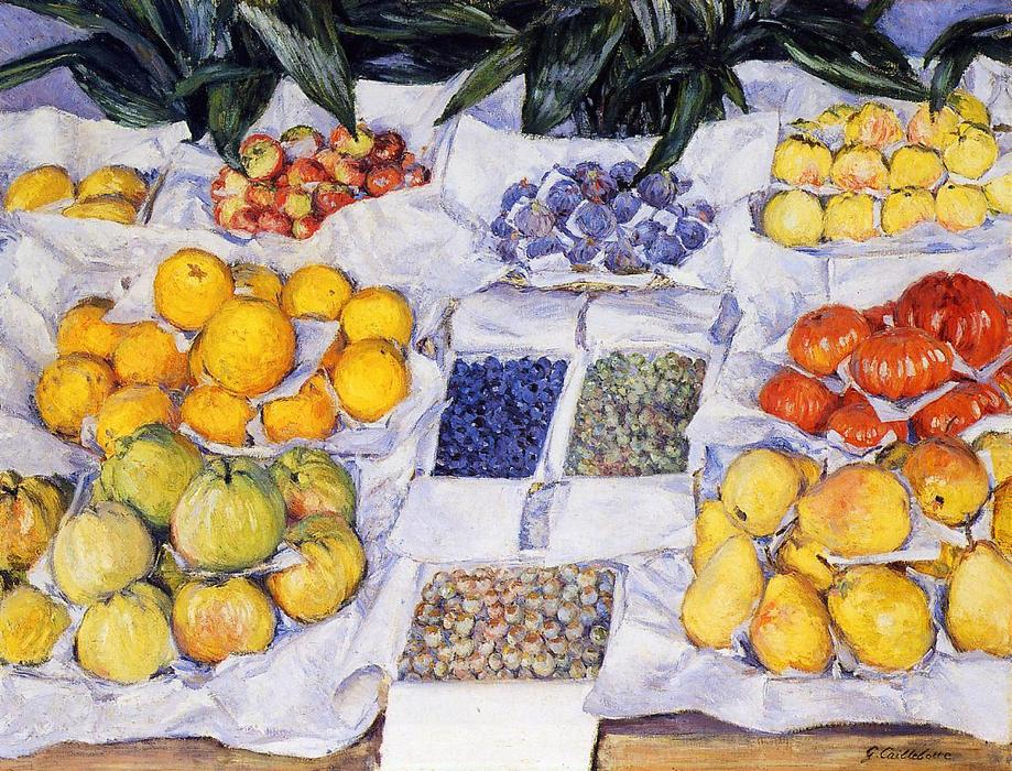 famous painting fruits affiché sur une `stand of Gustave Caillebotte