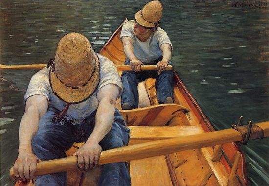 famous painting Les rameurs of Gustave Caillebotte