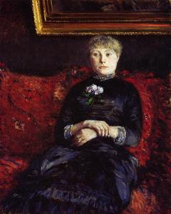 Gustave Caillebotte - femme assis sur une Red-Flowered Canapé 02
