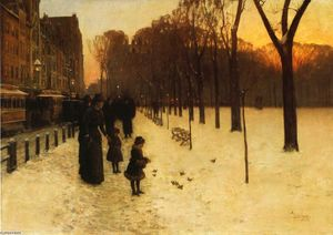 Frederick Childe Hassam - Boston Common au crépuscule