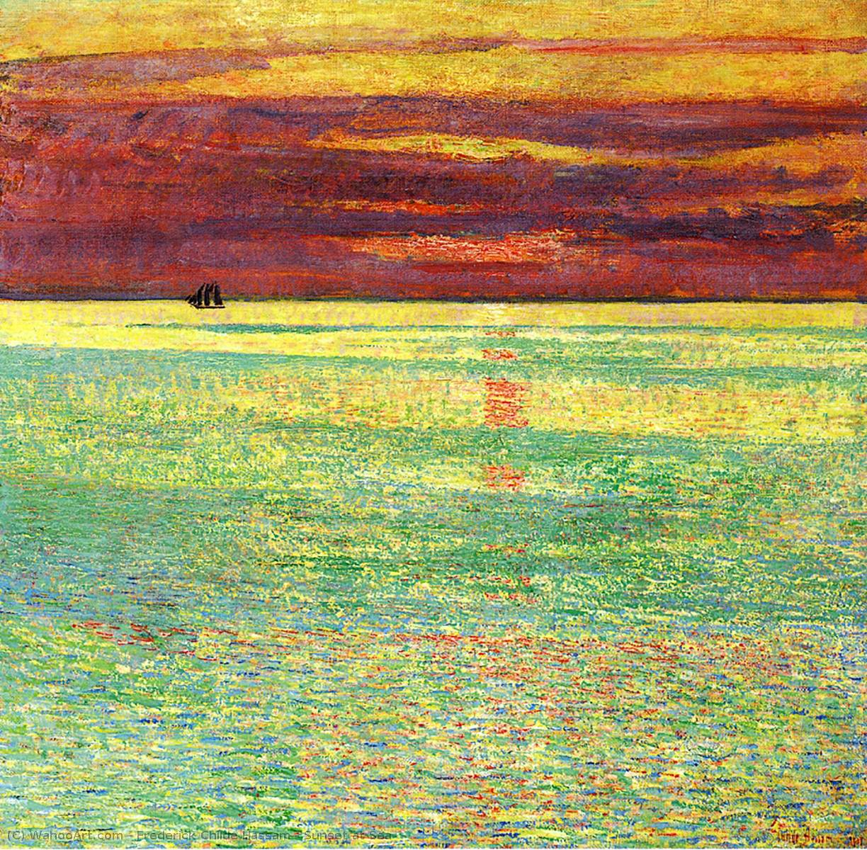 famous painting coucher du soleil à mer of Frederick Childe Hassam
