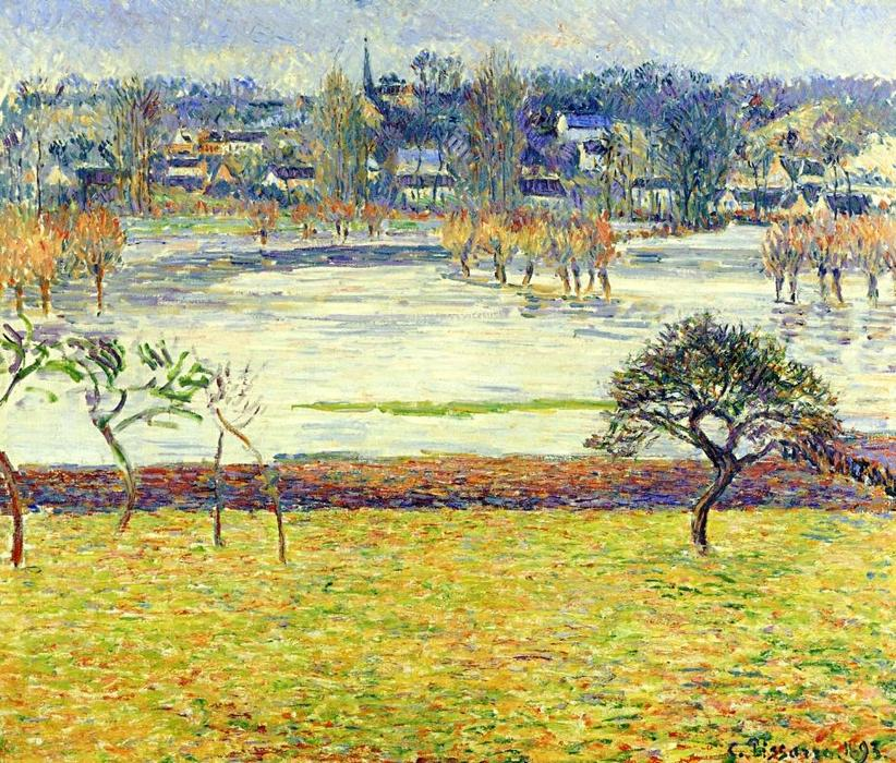 famous painting Inondations , blanc effet , Eragny of Camille Pissarro