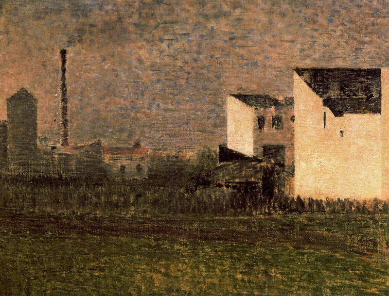 famous painting Banlieue industrielle of Georges Pierre Seurat