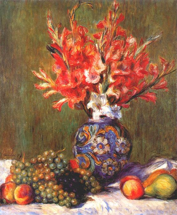 famous painting nature morte fleurs et fruits of Pierre-Auguste Renoir