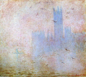 Claude Monet - Mouettes sur la Houses of Parliament
