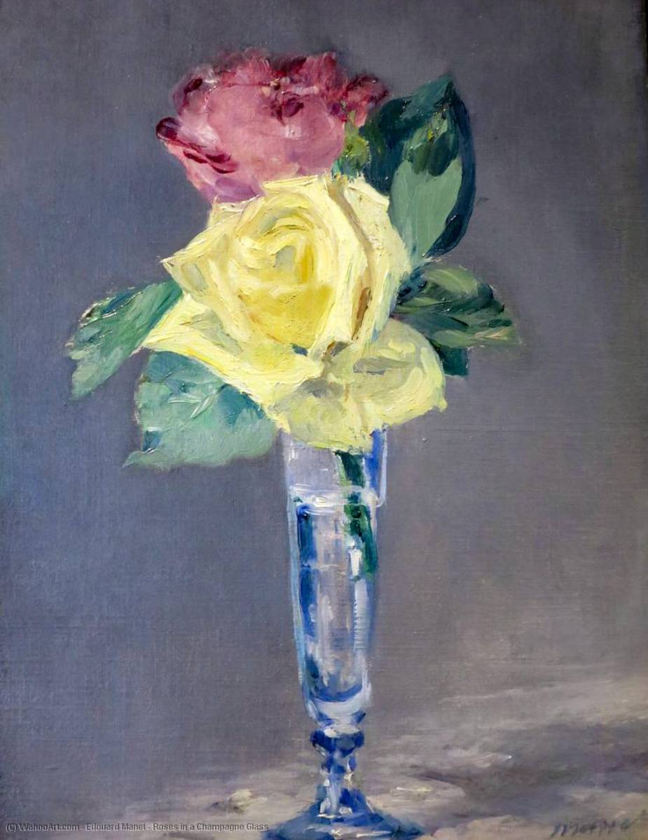 famous painting roses une  champenois  Verre  of Edouard Manet