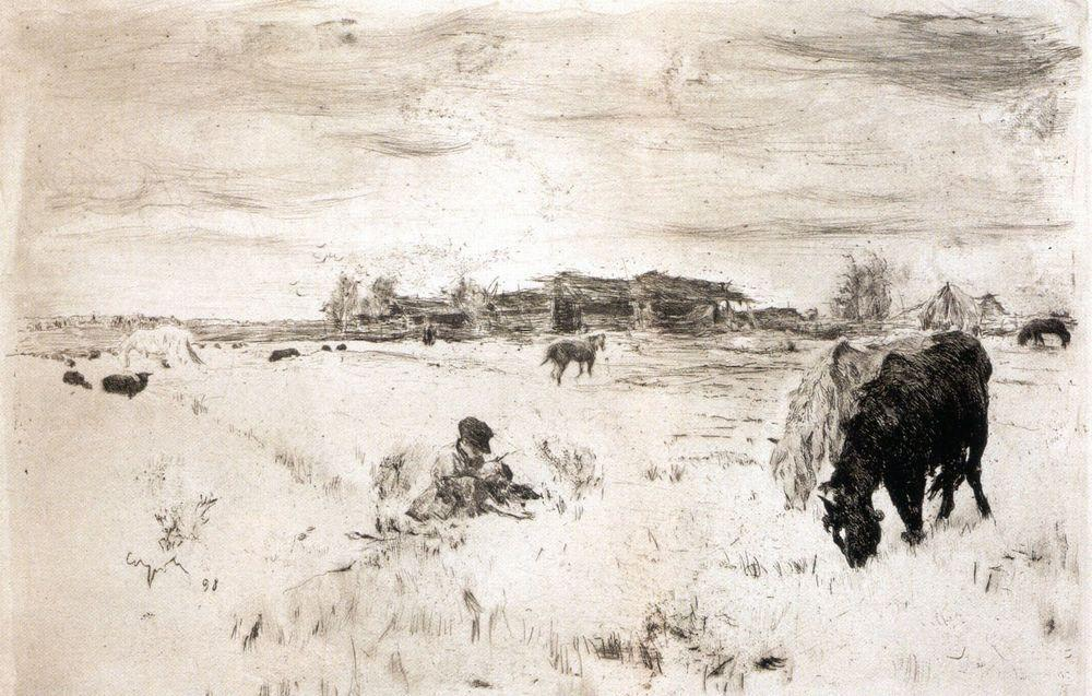 famous painting octobre of Valentin Alexandrovich Serov