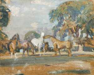 Alfred James Munnings - Étude des 'Rose' , 'Wild Bird' , 'Peggy' et 'Stockings'